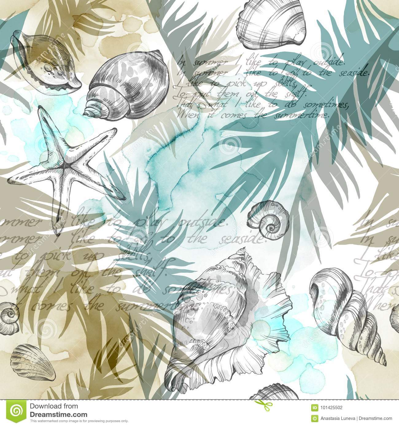 Summer Party holiday background, watercolor illustration. Seamless pattern with sea shells, molluscs and palm leaves