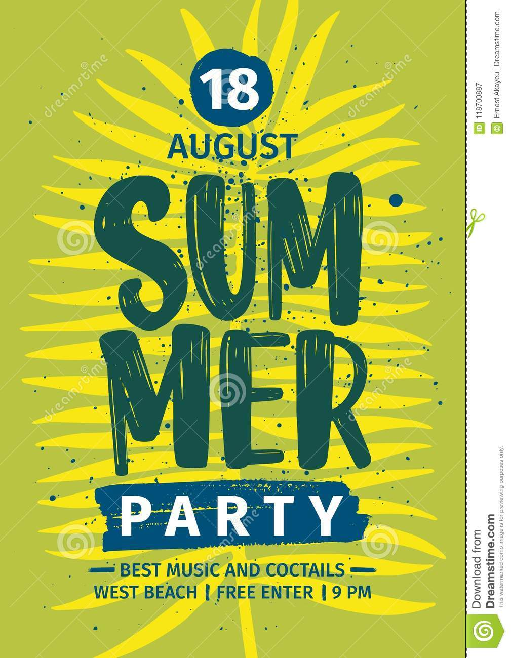 Summer Party Invitation Announcement Or Flyer Template With