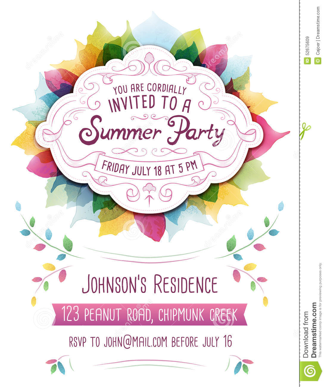 Ornament party invitations - Summer Party Invitation
