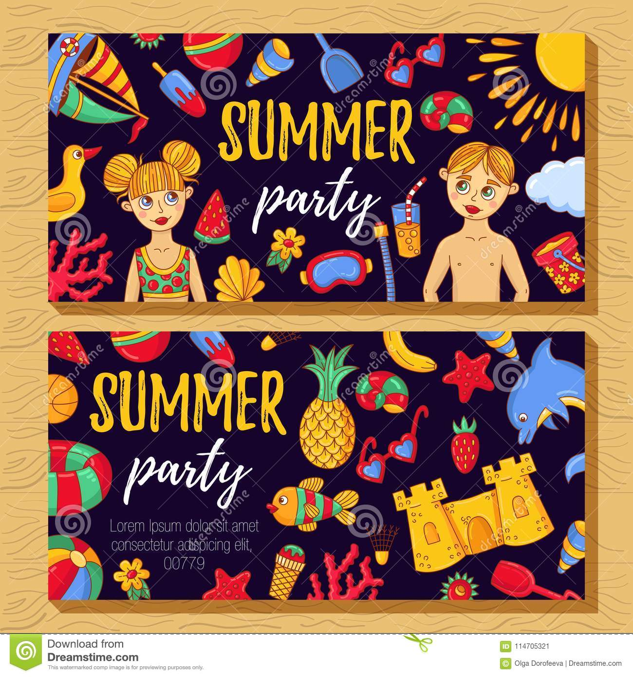 summer party invitation template with doodle icons stock vector