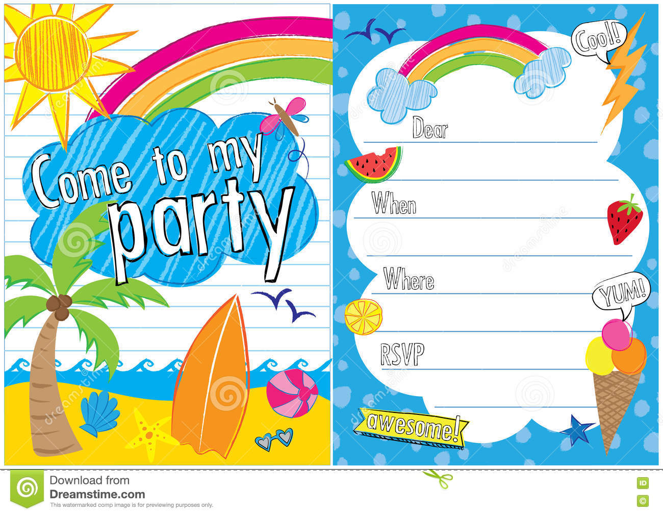 Summer Party Invite Illustration Image 74339468 – Beach Ball Party Invitations