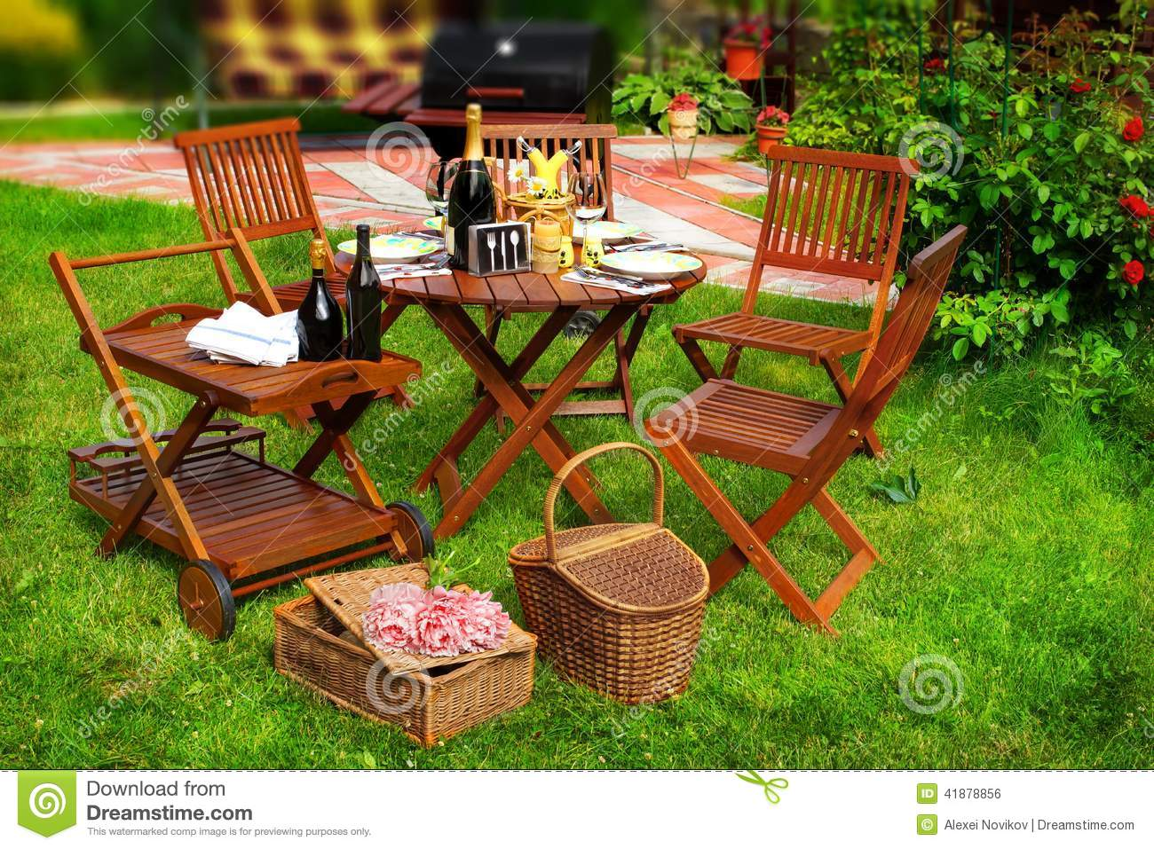 Backyard Summer Background : Summer Party or Picnic Scene Outdoor furniture on the lawn BBQ Grill
