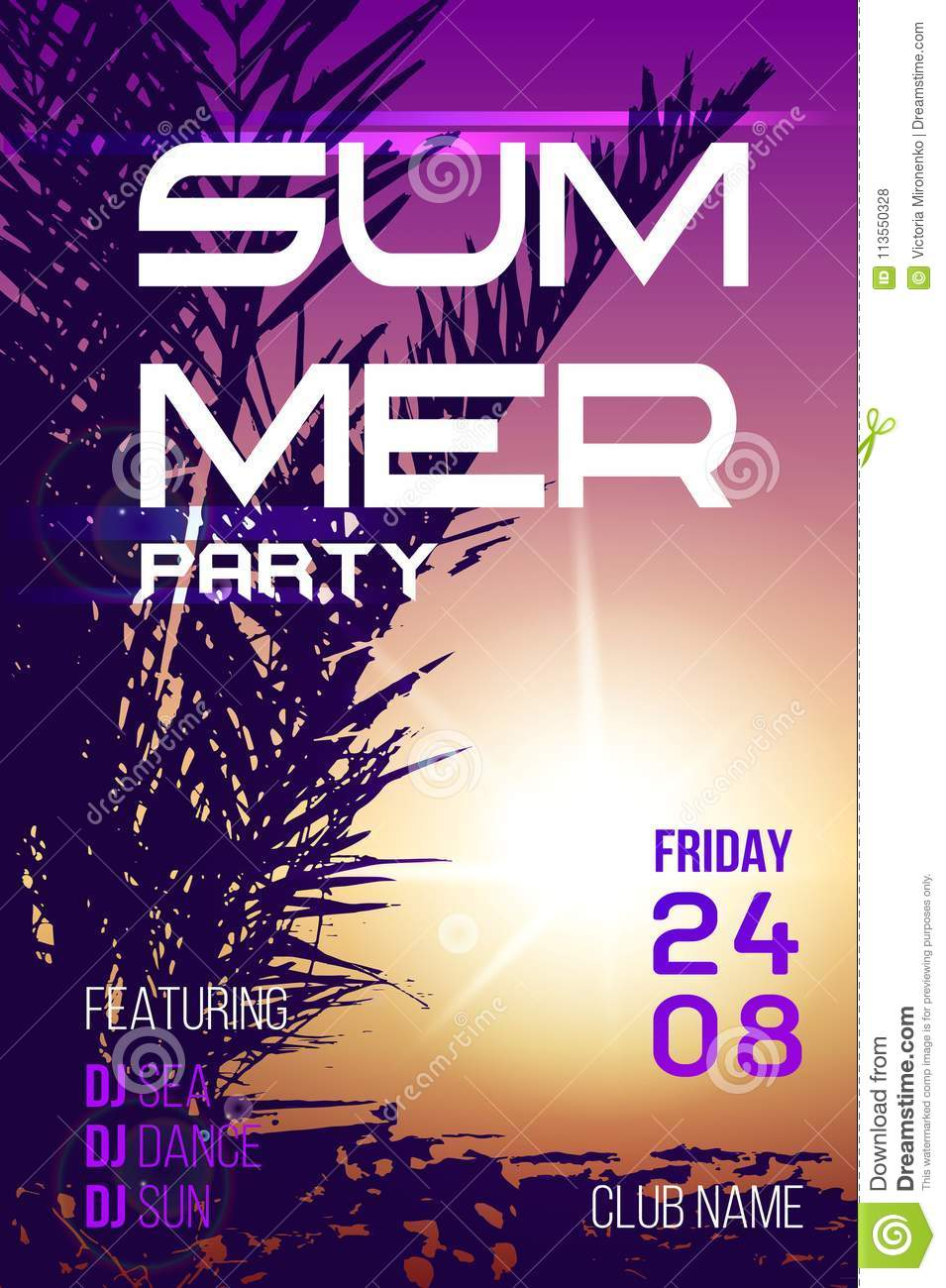 summer party poster with palm trees and sunshine modern design