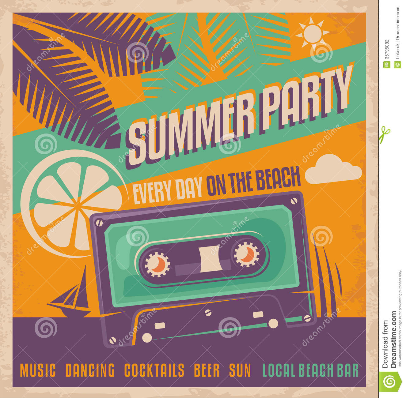 70s poster design template - Summer Party Retro Poster Vector Design Stock Photography