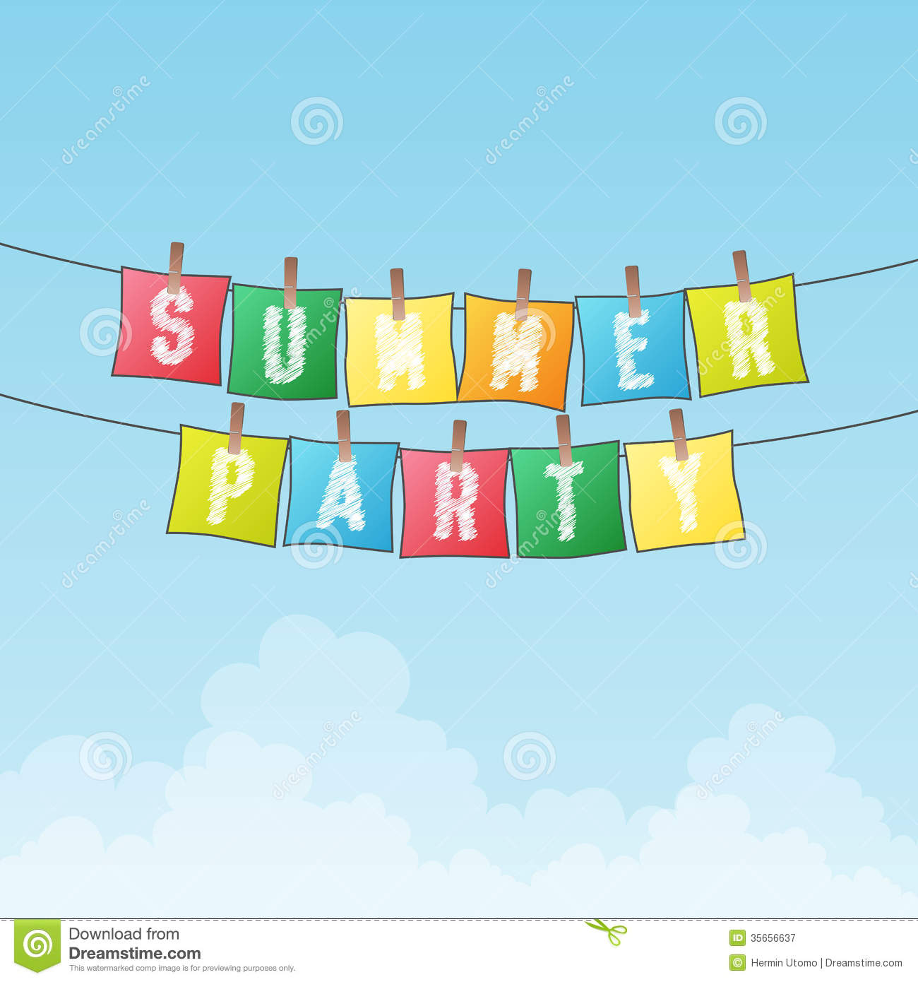 Summer Party stock vector. Illustration of word, rope ...
