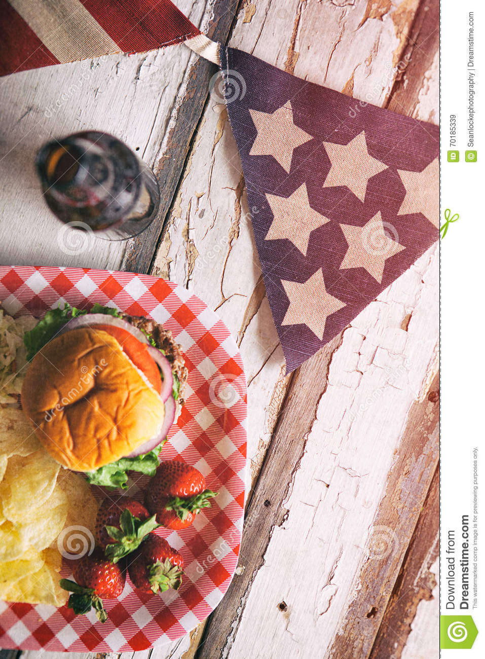 summer  patriotic summertime cookout background with