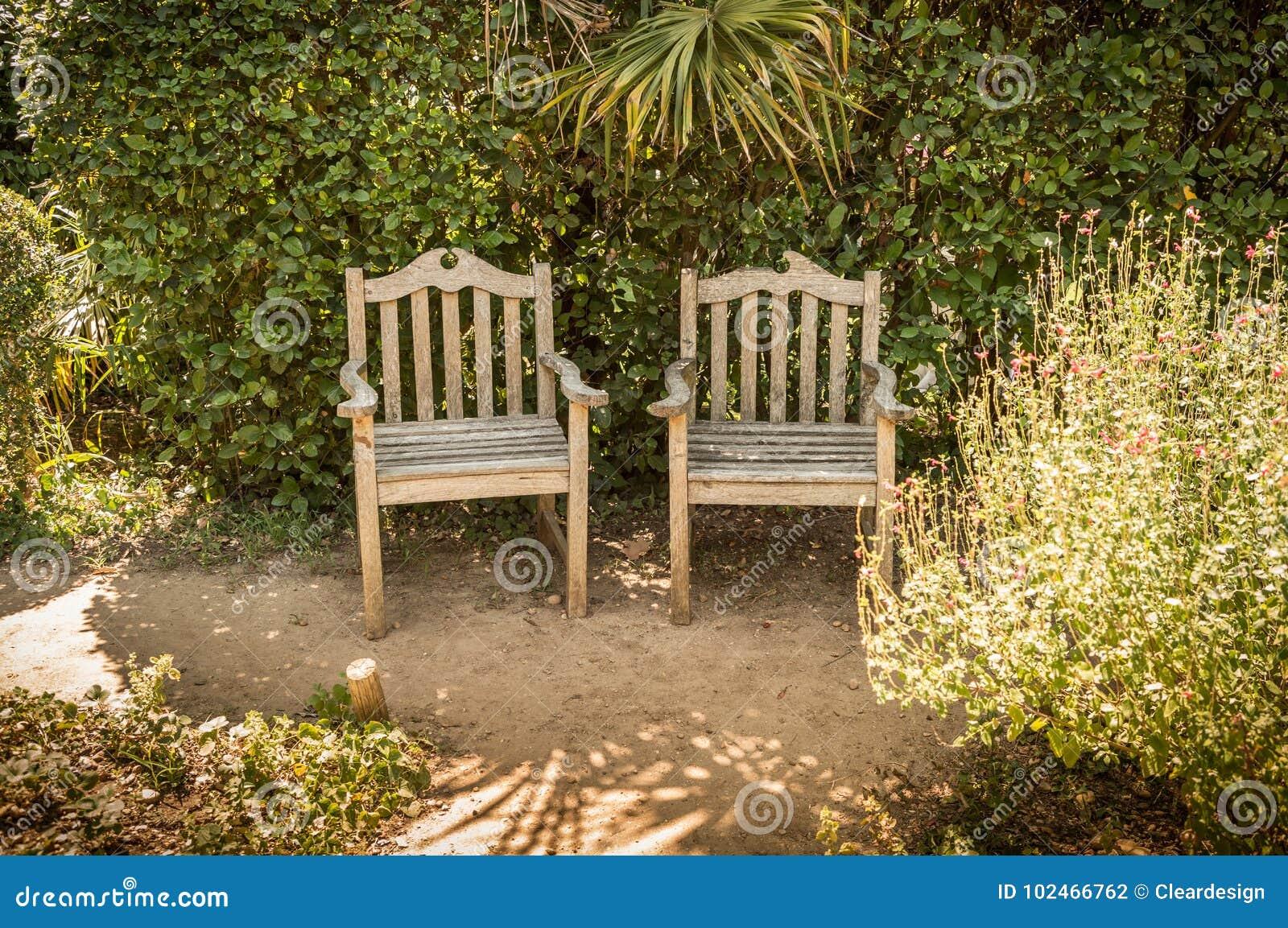 Summer Peaceful Vintage Garden Nook With Metal Furniture Stock Photo ...