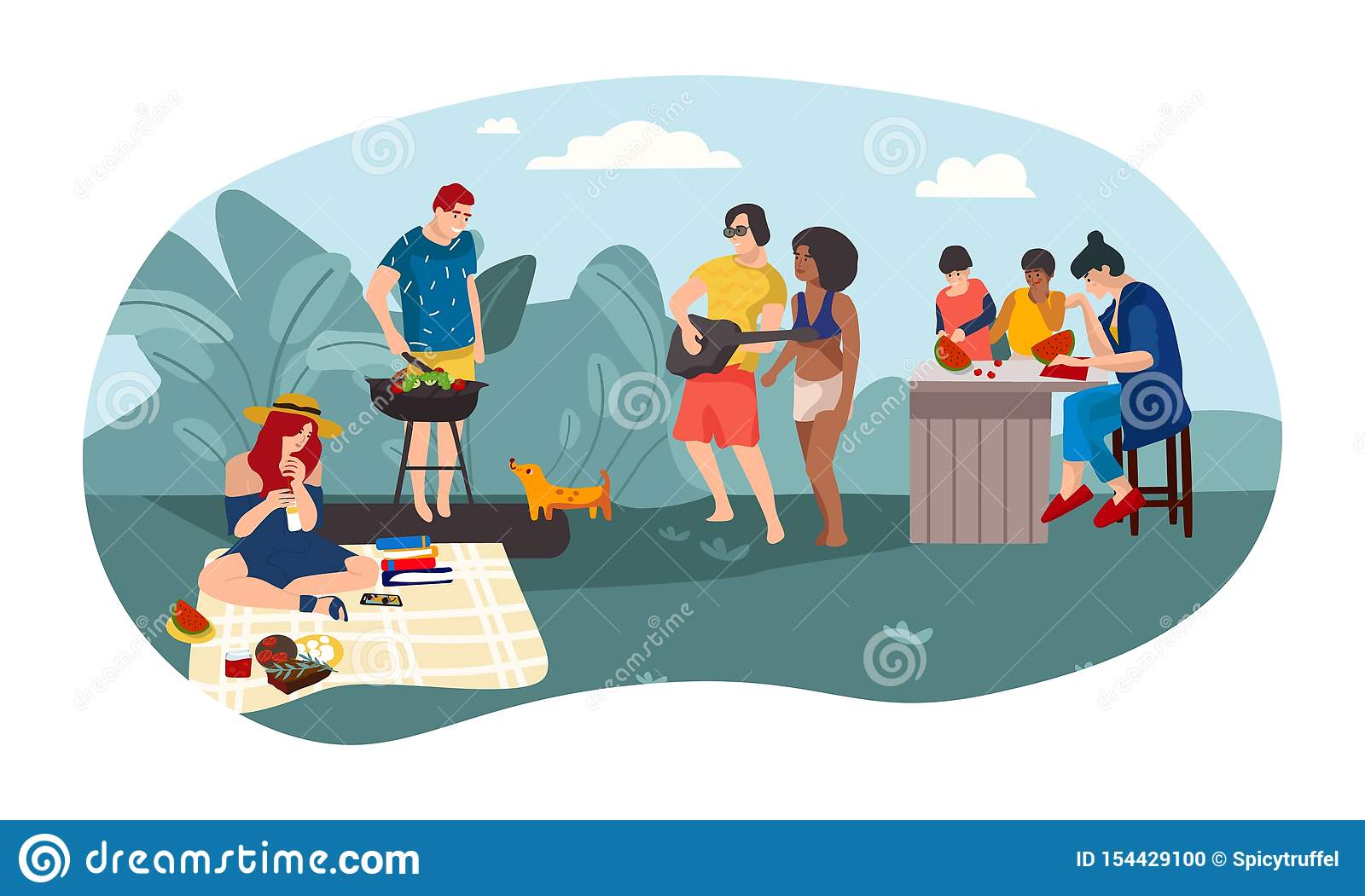 Summer people BBQ Cartoon parents and children spending time together picnic party. Vector summer activities background