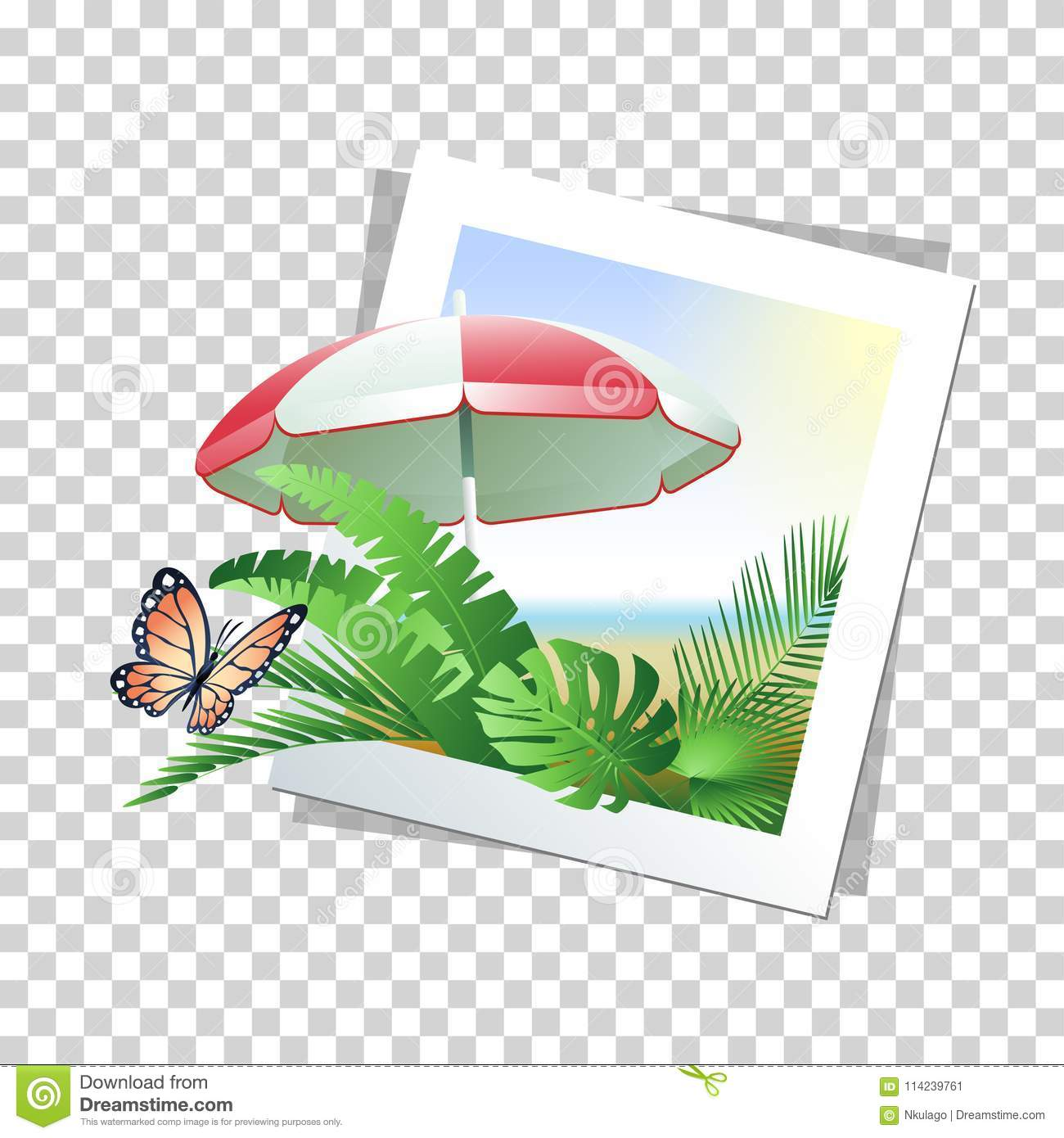 Summer Photo Frame With Beach Umbrella, Tropical Leaves And