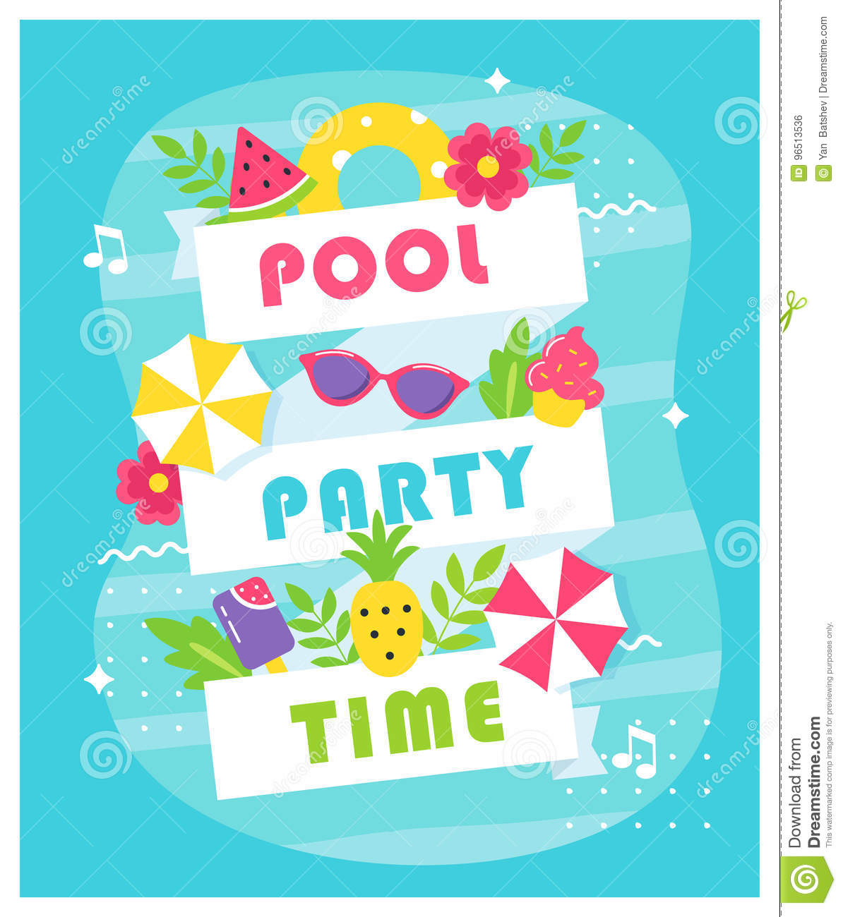 Summer Pool Or Beach Party Poster Or Invitation Card Stock