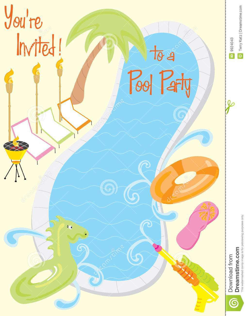 Summer Pool Party Invitation Stock Photos - Image: 9924043
