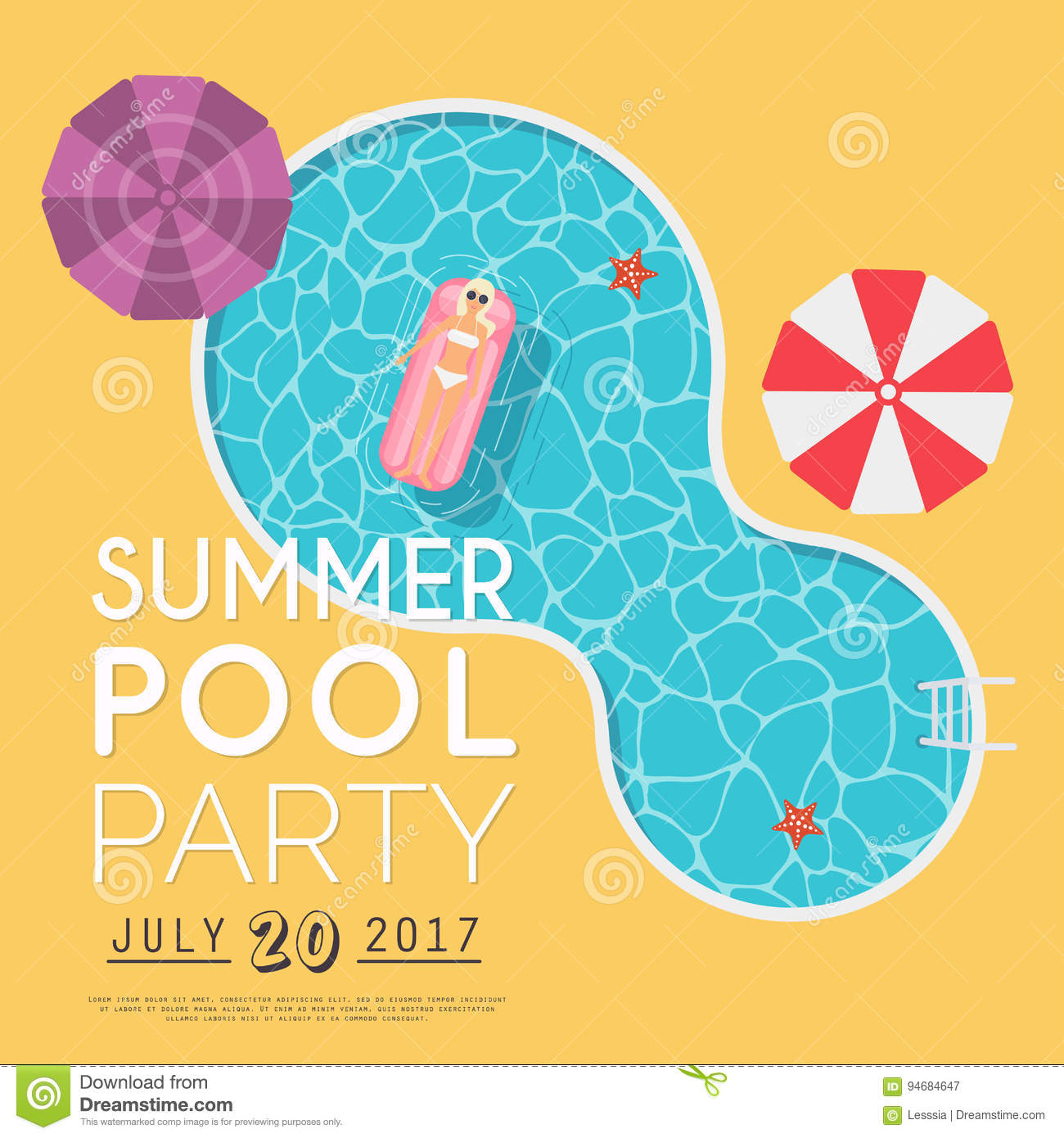 Summer pool party invitation flyer or banner template flat des summer pool party invitation flyer or banner template flat des royalty free vector monicamarmolfo Gallery