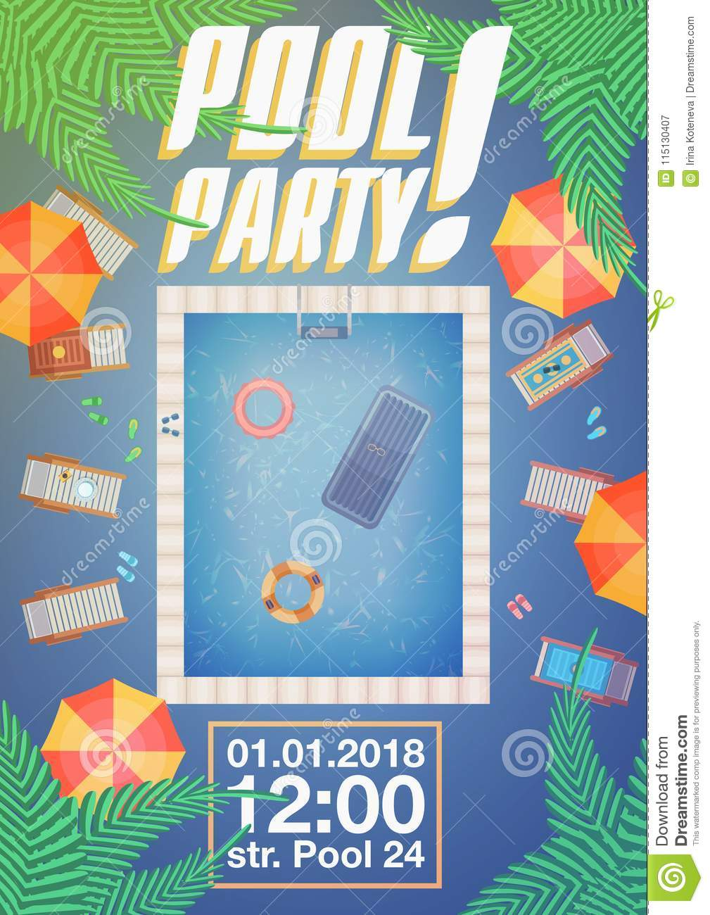 summer pool party invitation layout stock vector illustration of
