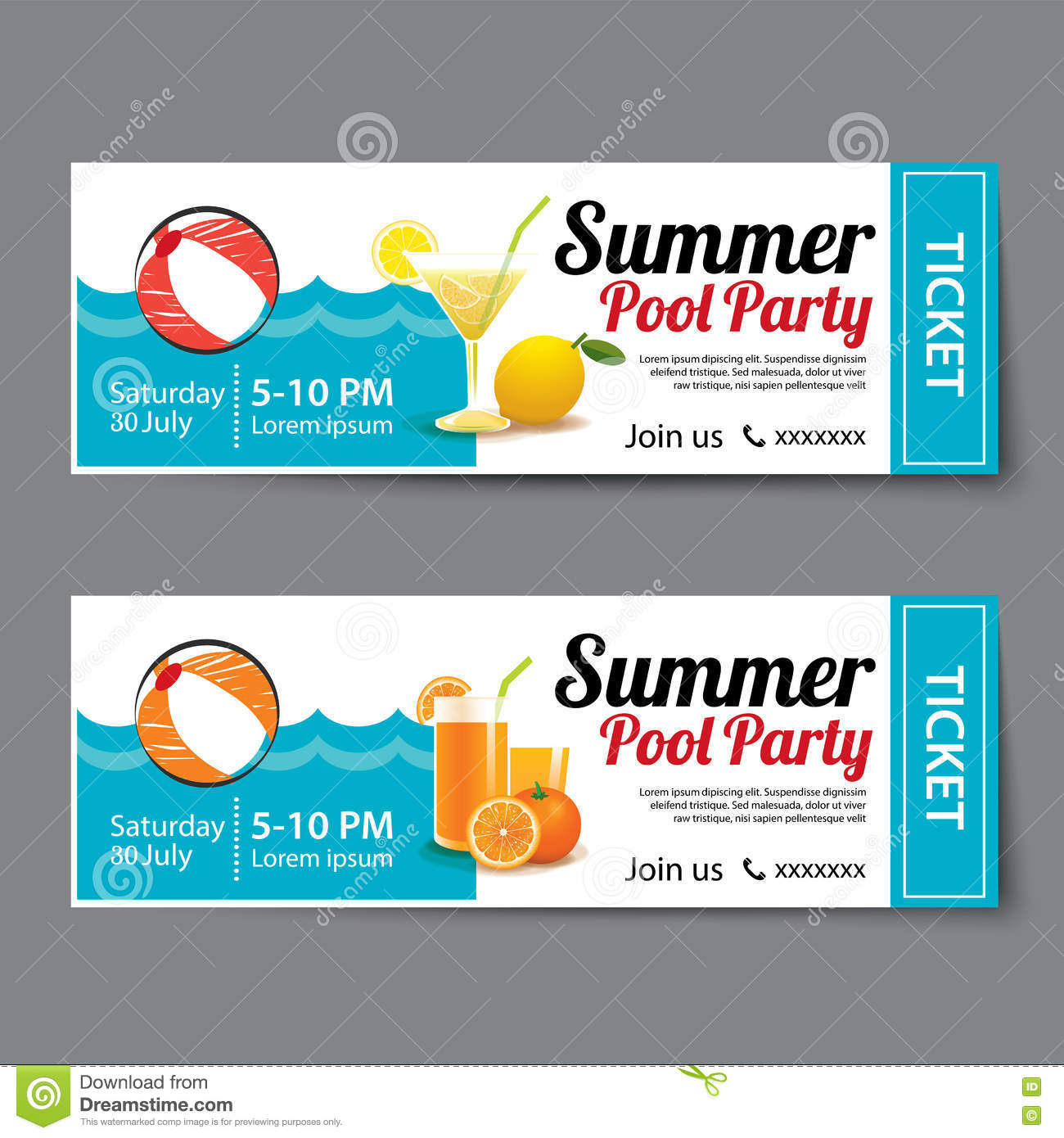 Summer Pool Party Ticket Template. Royalty Free Vector  Christmas Party Ticket Template Free