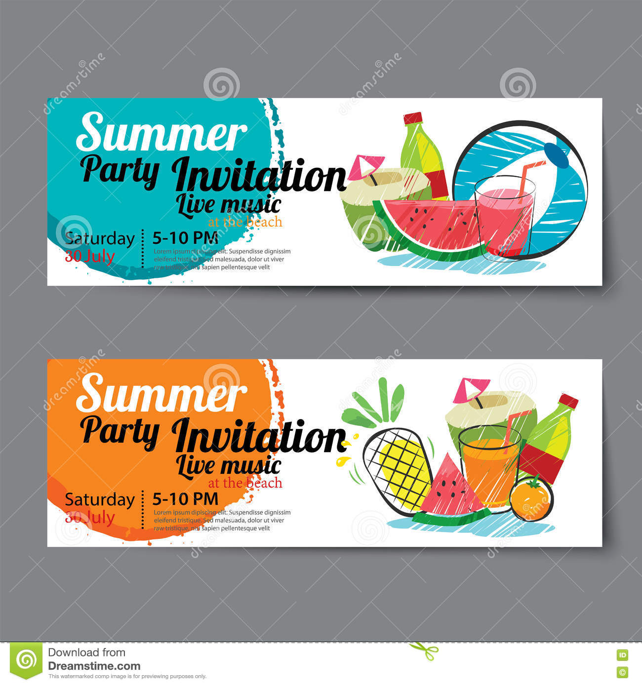 summer pool party ticket template illustration 74953503 megapixl