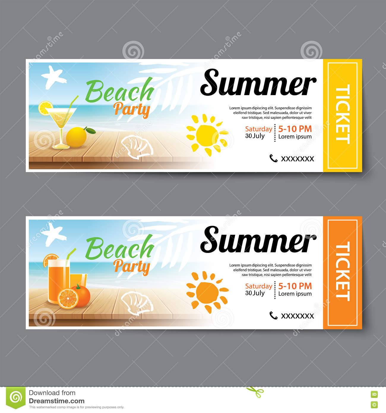 Summer Pool Party Ticket Template Stock Vector Image 74953506