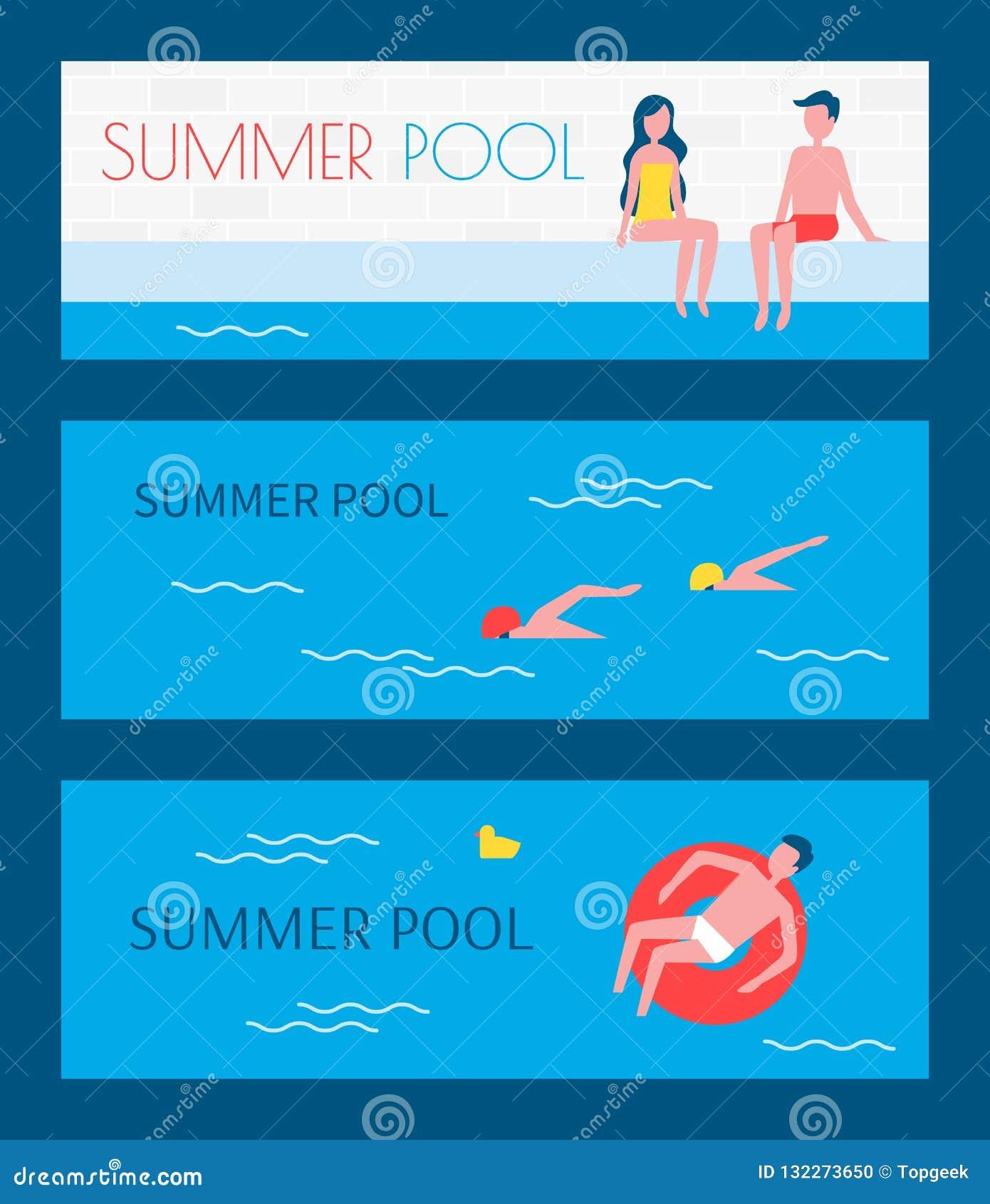 Summer Pool Swimming Basin Vector Illustration Stock Vector ...