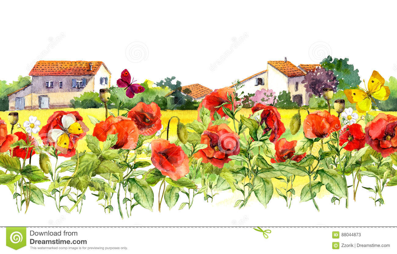 Summer poppies flowers, butterflies, provencal houses. Floral border. Watercolor repeated frame stripe