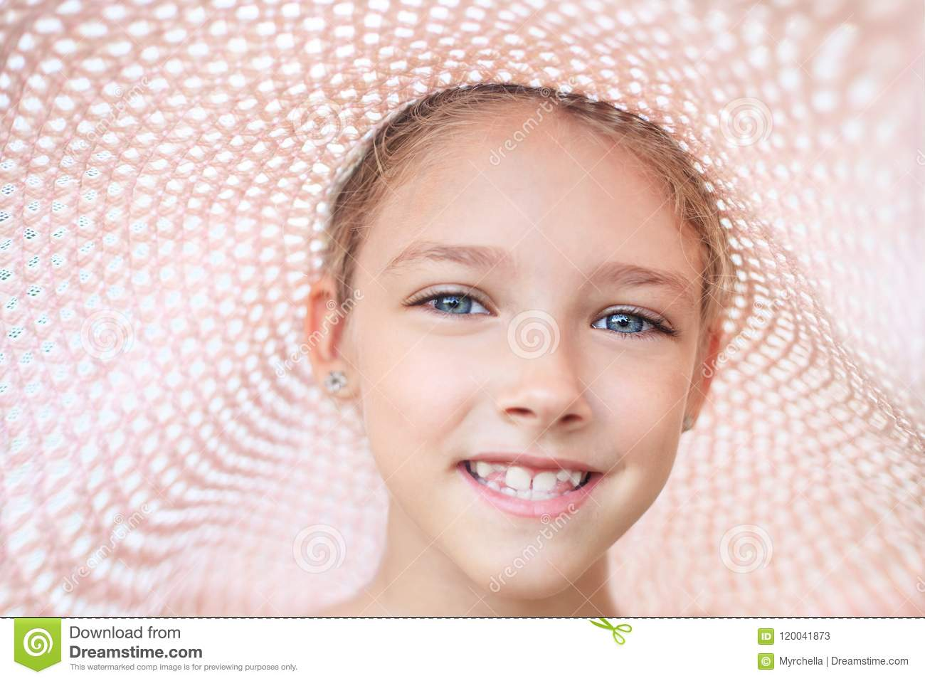 Download Summer Portrait Of A Beautiful Girl In A Pink Hat. Stock Image - Image of fashion, dress: 120041873