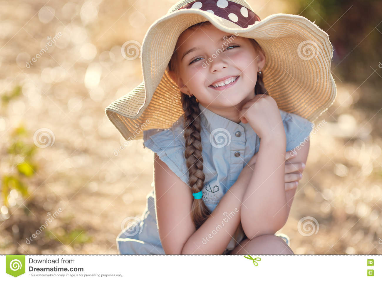 97d75b5551e Portrait Cute Little Girl Big Summer Hat Isolated White Stock Images ...