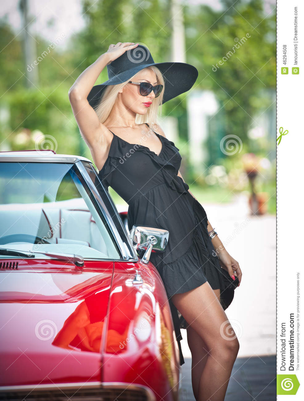 Summer Portrait Of Stylish Blonde Vintage Woman With Long