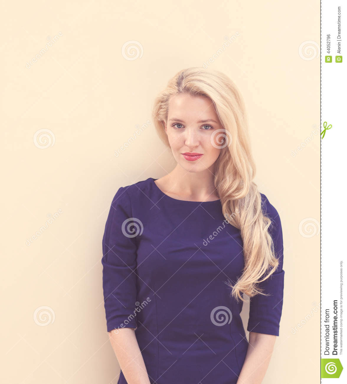 Summer Portrait Of Young Beautiful Blond Woman In Blue