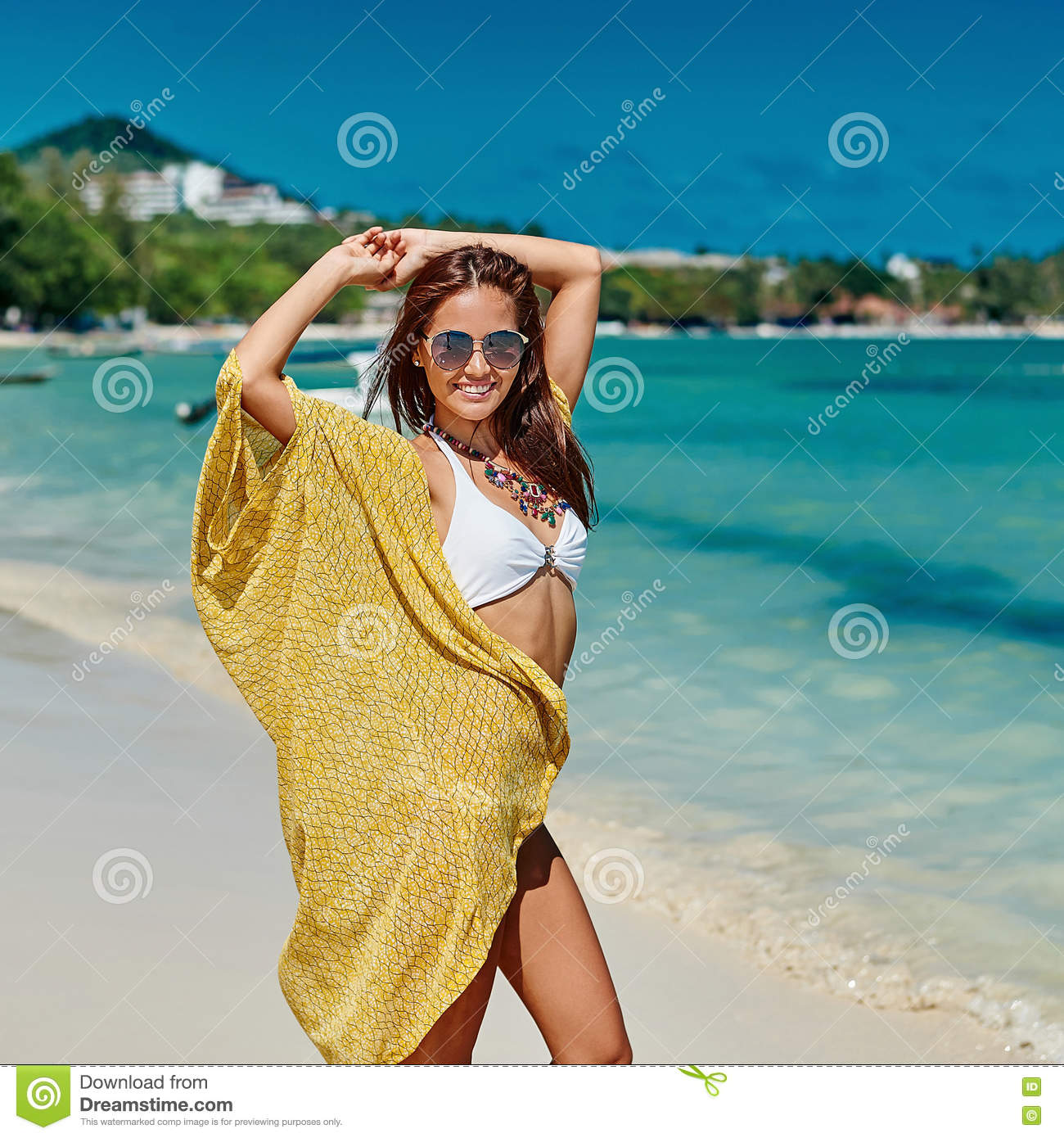 Woman Enjoying At Beach Stock Image Image Of Pleasure: Summer Portrait Of Young Pretty Woman Having Fun On A