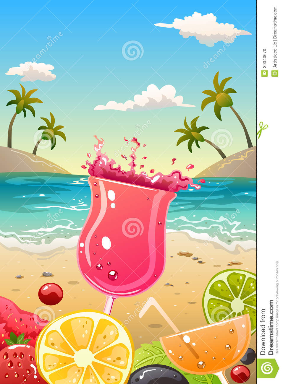 Summer Poster With Fresh Fruit And Drinks Stock Vector ...
