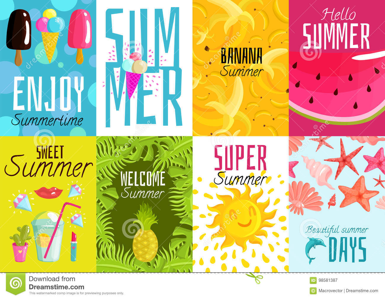 summer posters set stock vector illustration of leisure 98581387