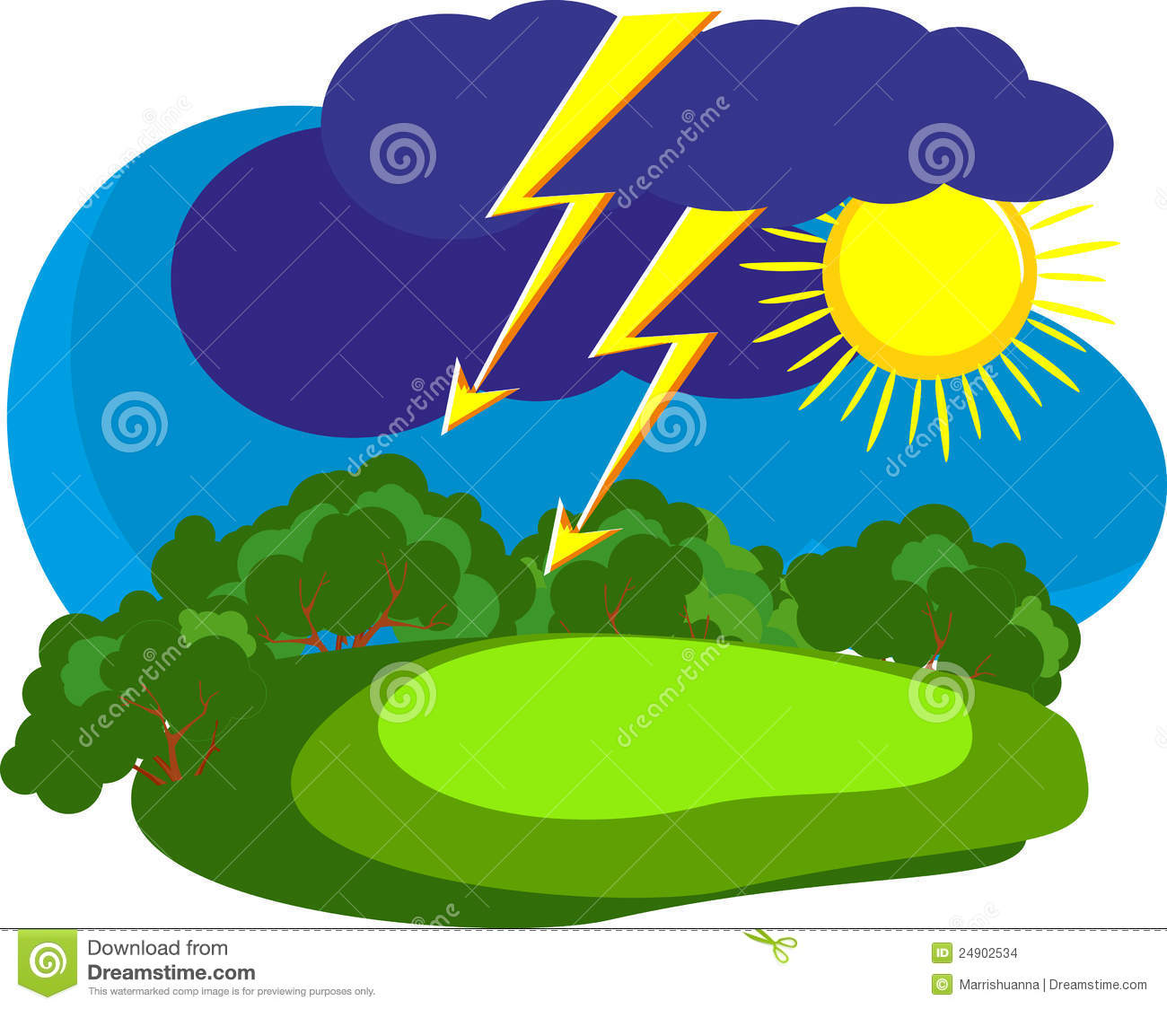 Force Of Nature Played Out In The Countryside Mentions Sky Sun Is Shining Cloud Came Running A Flash Lightning Storm
