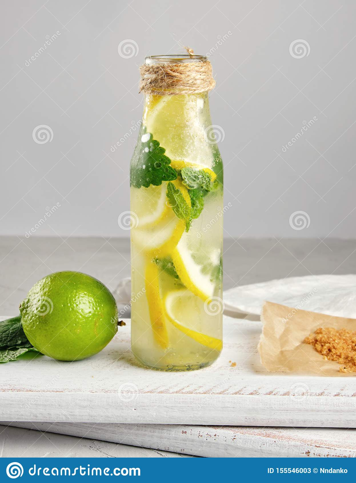 summer refreshing drink lemonade with lemons