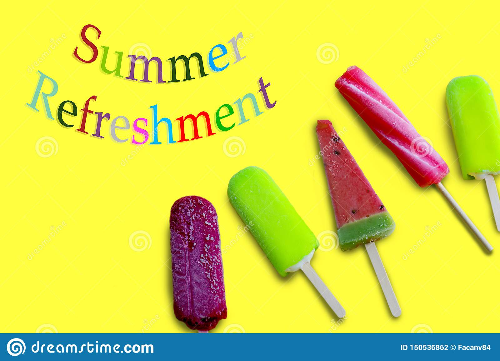 Summer refreshment with colorful letters and five ice cream on the yellow surface.