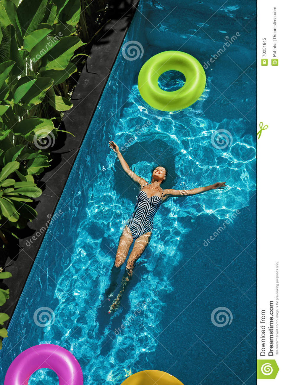 Summer Relax. Woman Floating, Swimming Pool Water. Summertime Holiday