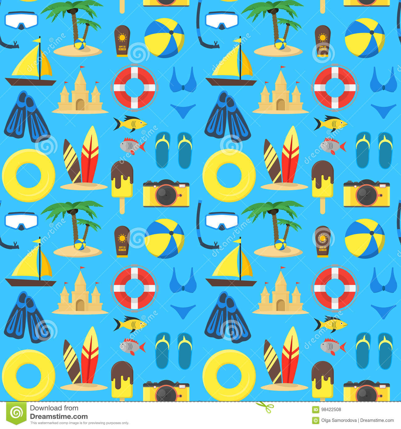 Summer Rest Background Pattern on a Blue. Vector