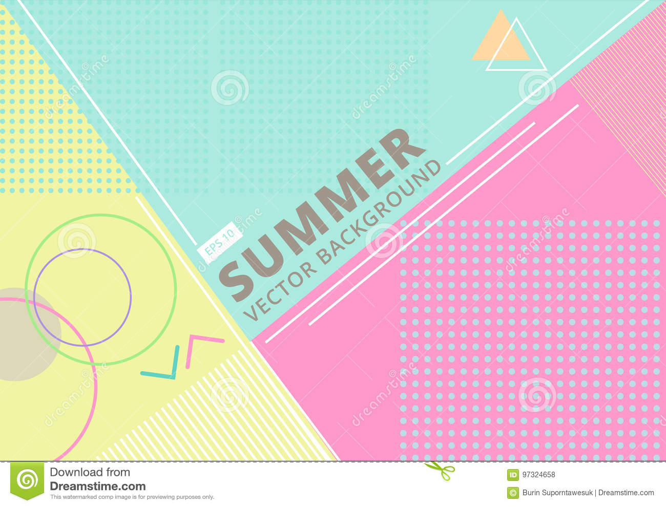 summer with retro style texture pastel color, pattern and geometric elements. Abstract design card perfect for