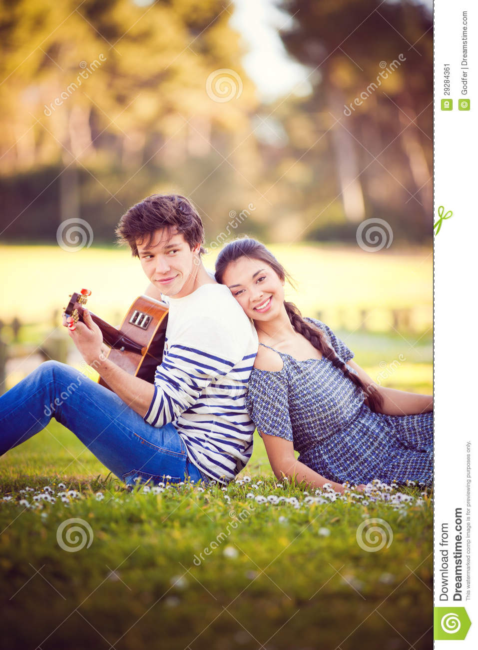 Summer Romance With Guitar Stock Image Image 29284361