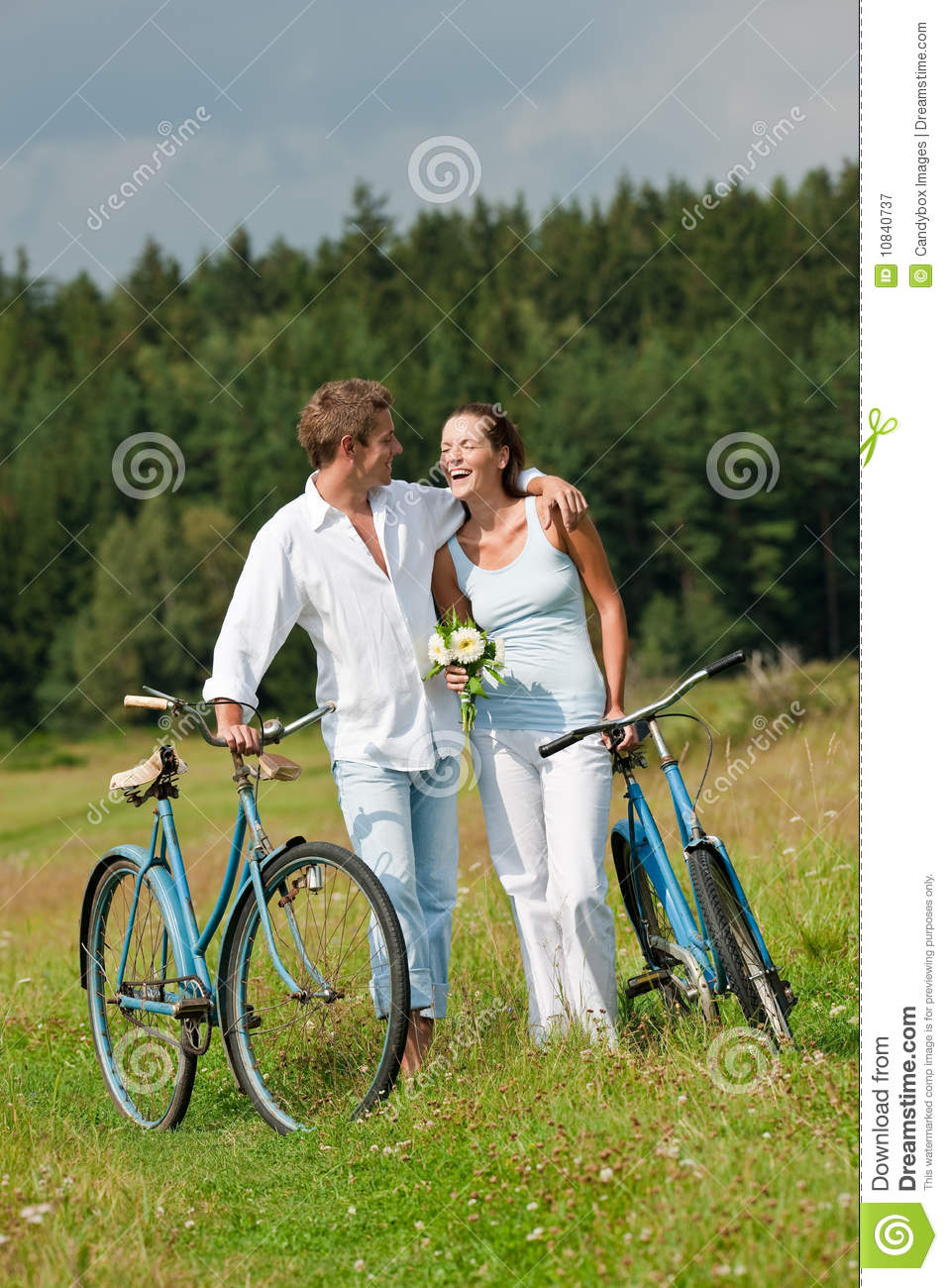 Summer - Romantic Couple With Bike In Meadow Royalty Free ...