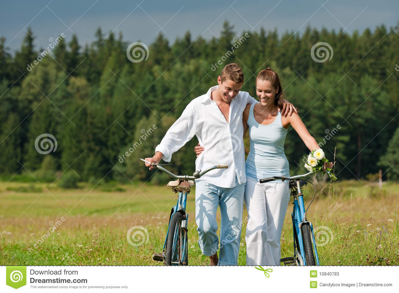 Summer - Romantic Couple With Bike In Meadow Stock Photos ...
