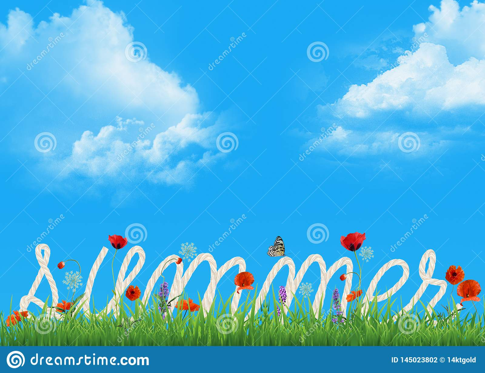 Summer rope text in grass