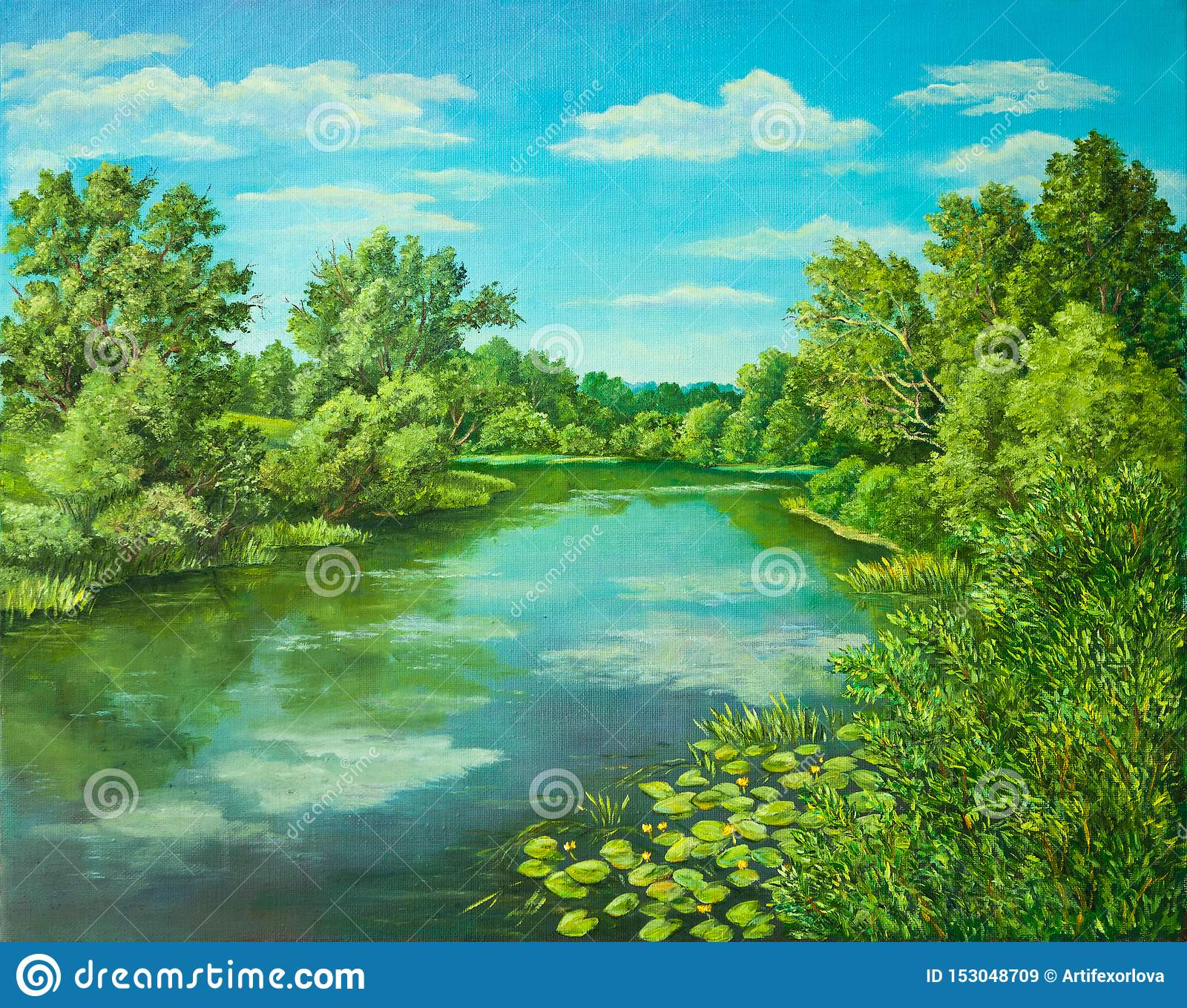 Summer rural landscape in Russia. Sunny day - calm blue summer river with reflection green grass and trees . Original