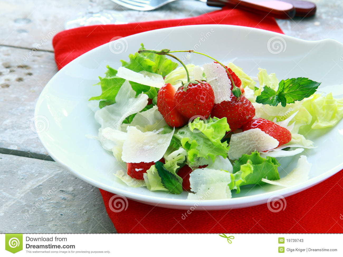 Stock Photos: Summer salad with strawberries, cheese