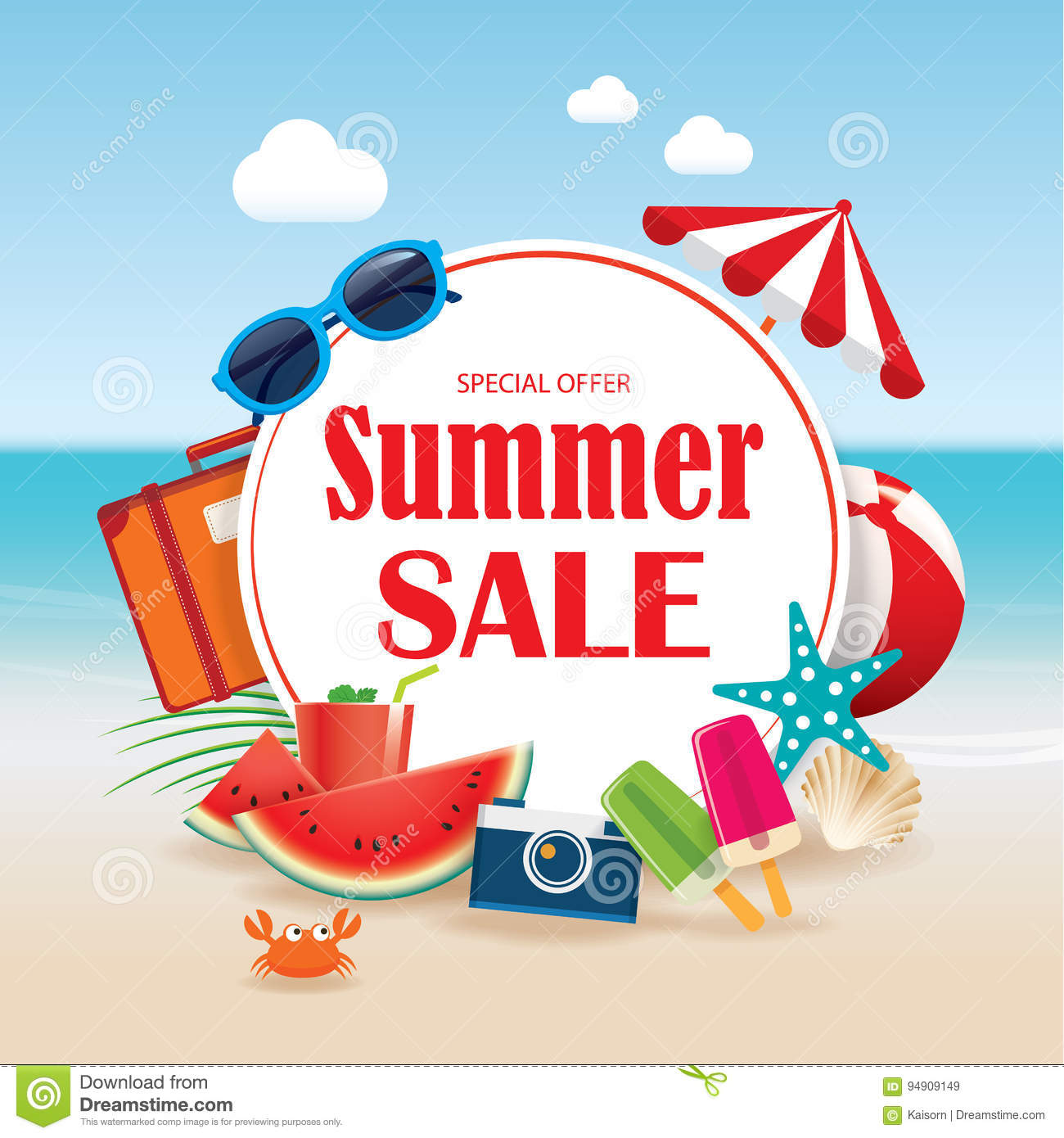 Colorful Beach Condo Makeover: Summer Sale Background Banner Design Template With