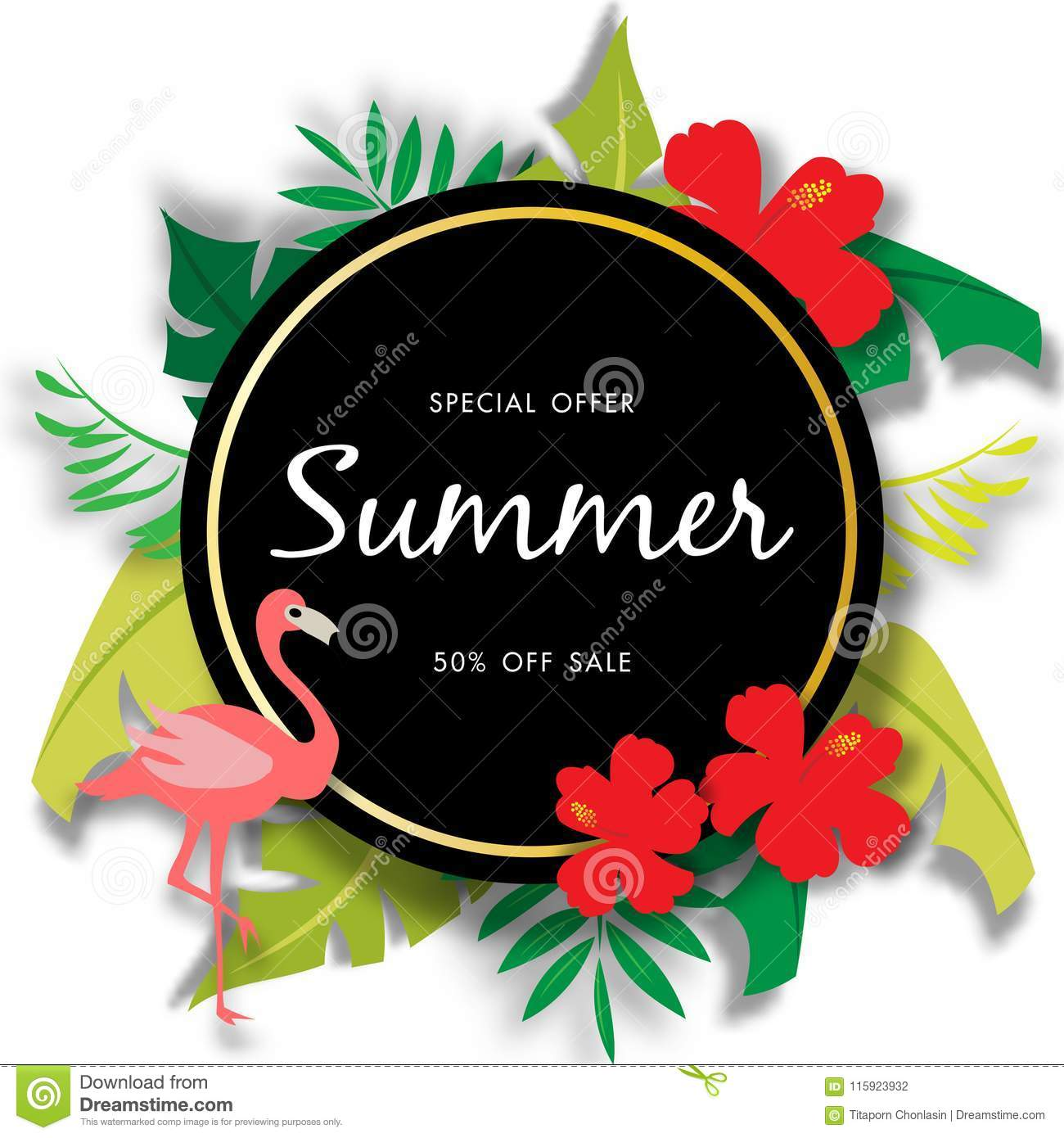 Summer sale background with beautiful flower, vector illustration template