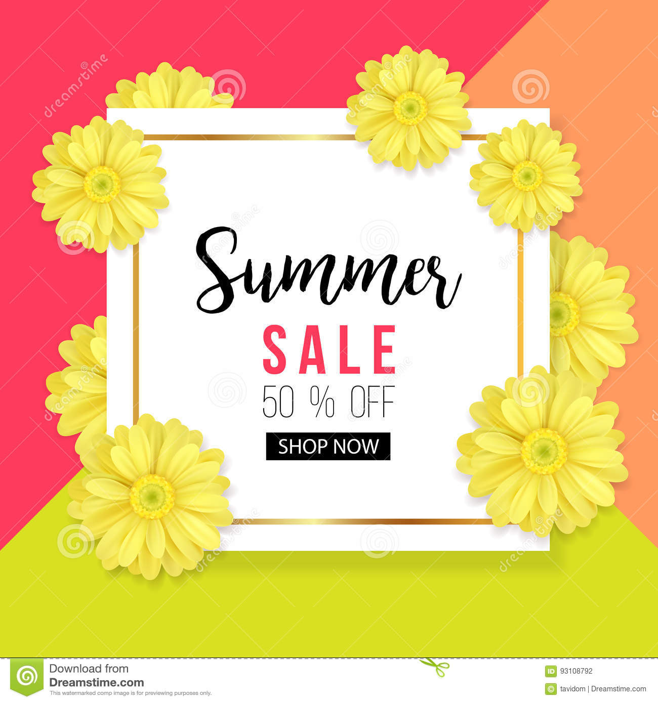 Summer Sale Background With Beautiful Yellow Flower Vector Illustration Template Banners Wallpaper