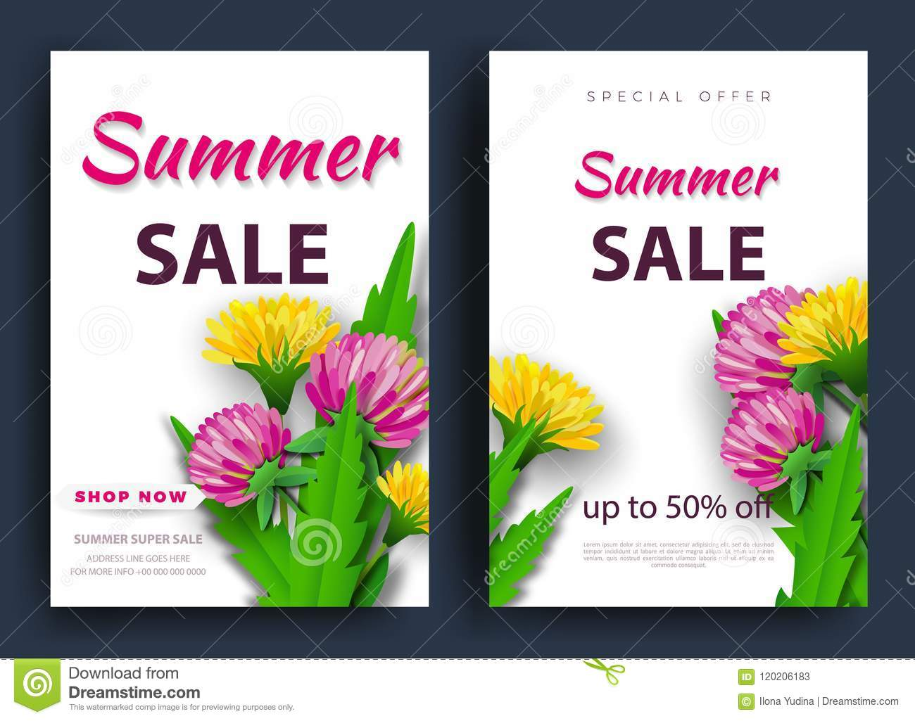 summer sale of background layout banners a discount wildflowers