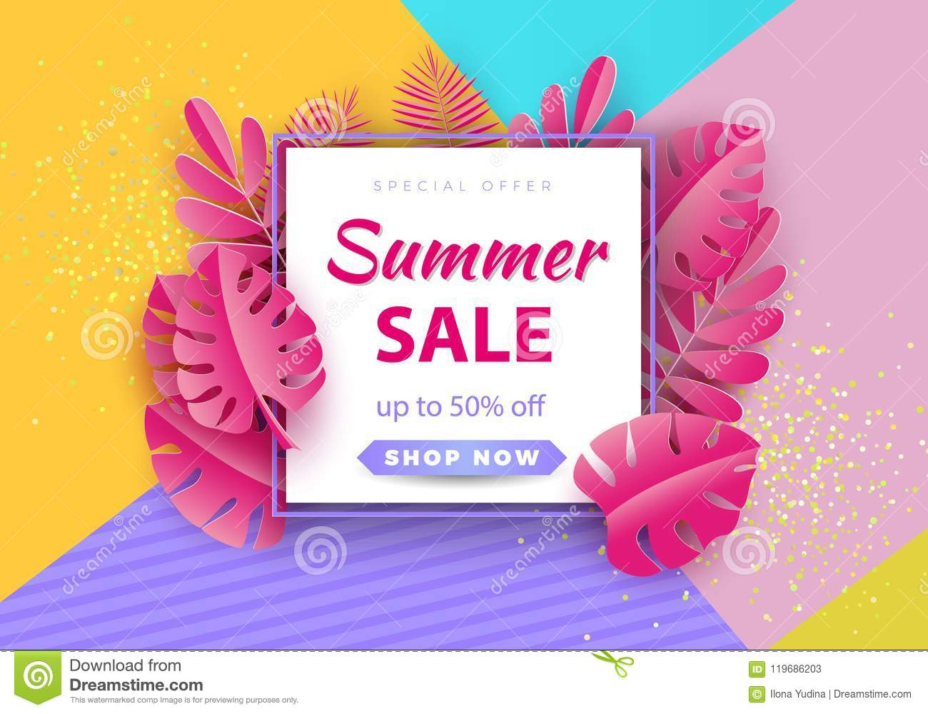 Summer Sale Background For Banners Pink Palm Leaves On A Bright Background Season Discounts Template For Flyer Invitation Poster Brochure Discount On