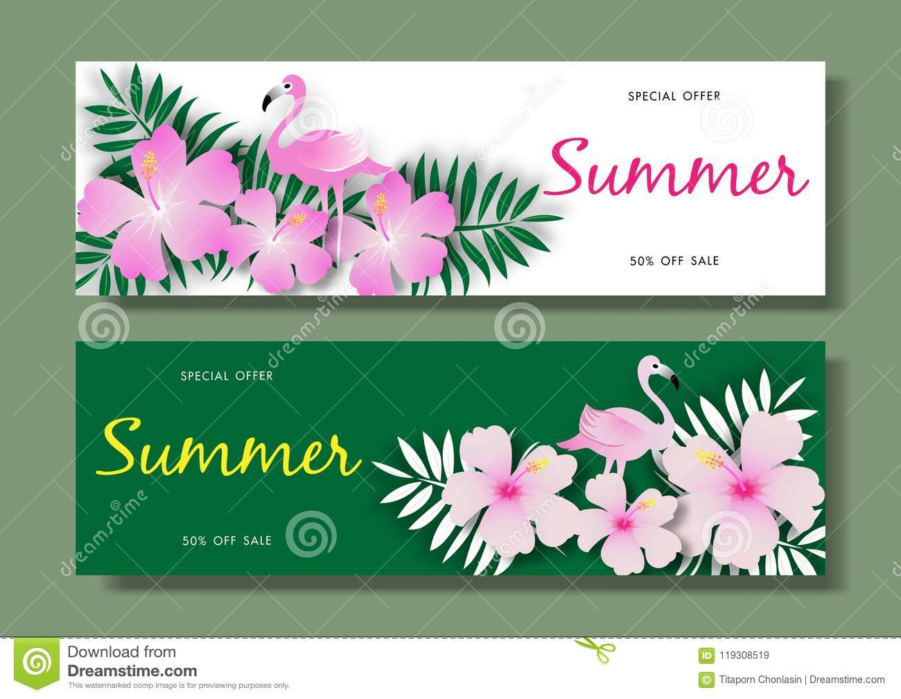 Summer sale background with pink flamingo bird on tropical background vector illustration template