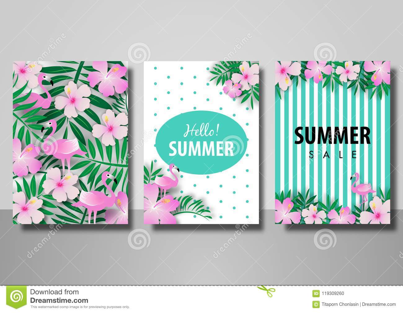 Summer sale background set vector illustration template with flamingo bird and palm leave