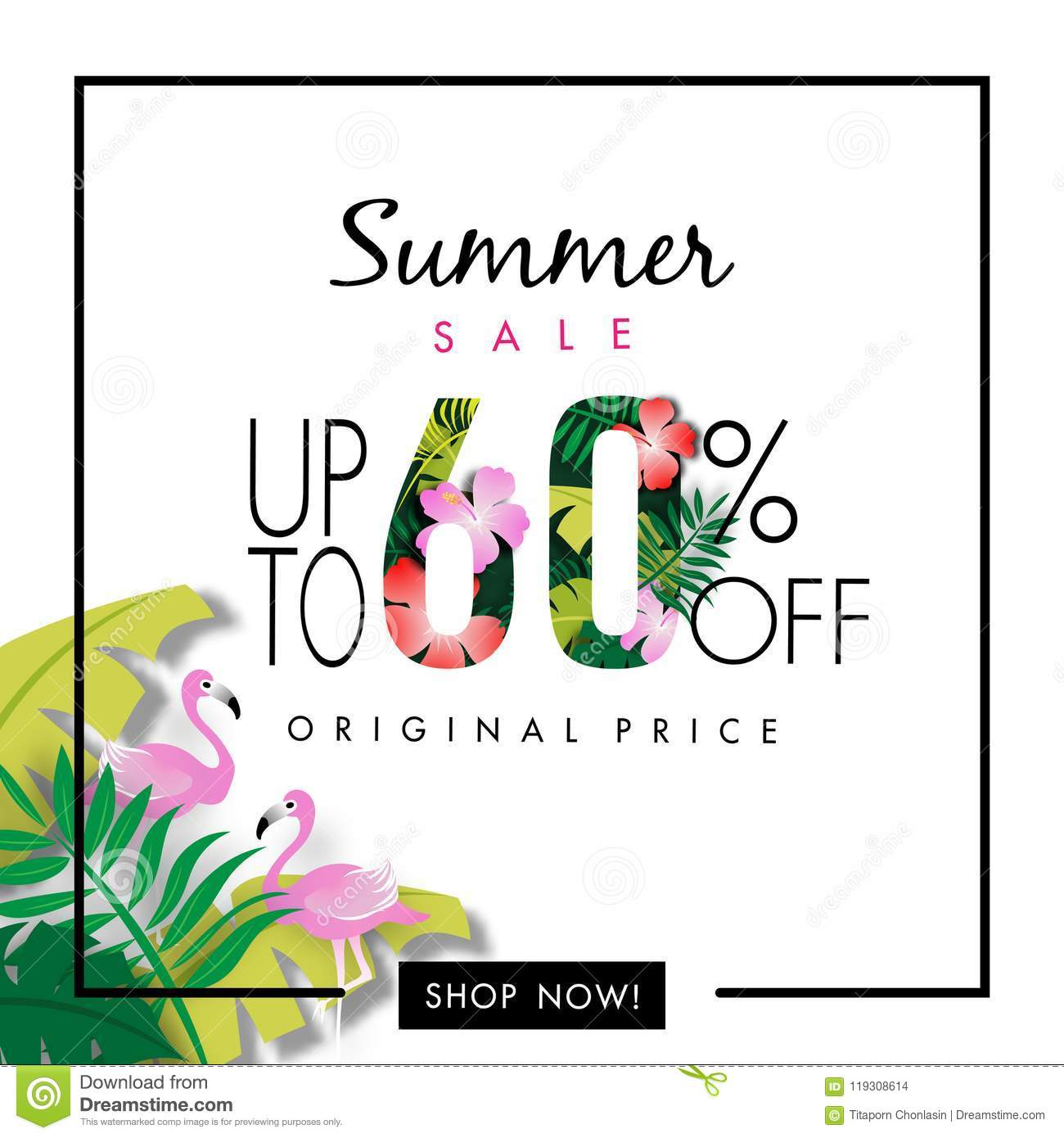 Summer Sale Background, Sixty Percent Sale Off, Tropical Design Vector