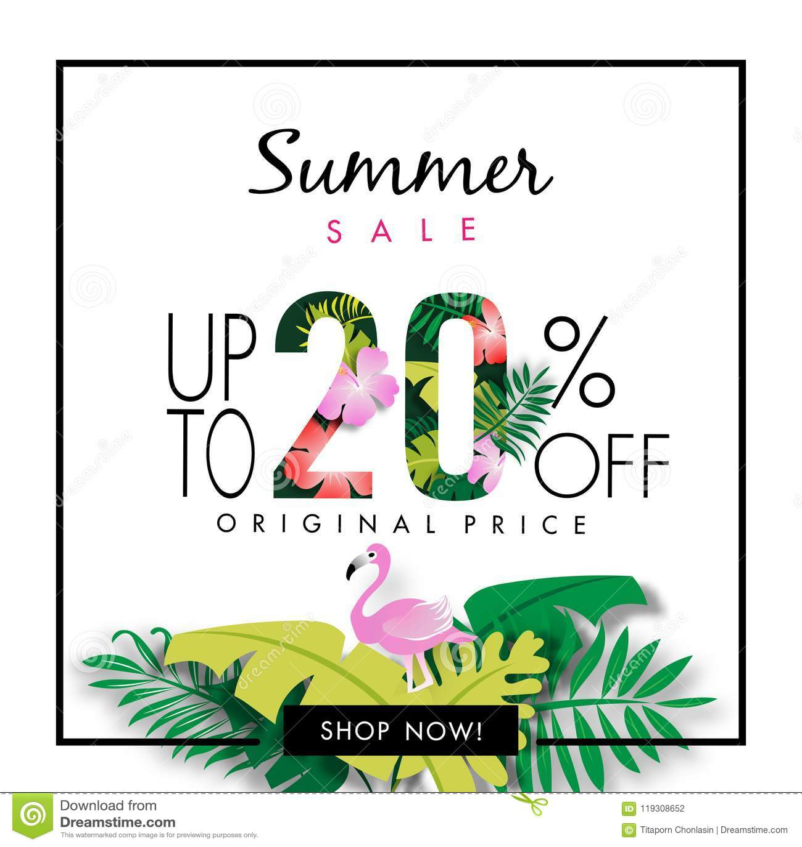 Summer Sale Background Tropical Design Vector